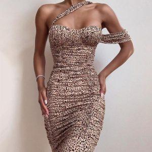 Bohemian Leopard Print Short Dress