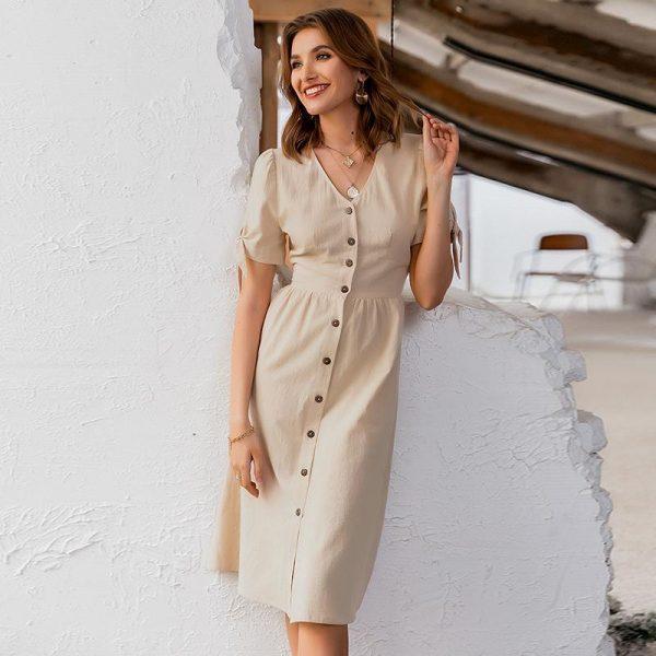 Beige Bohemian Classy Dress