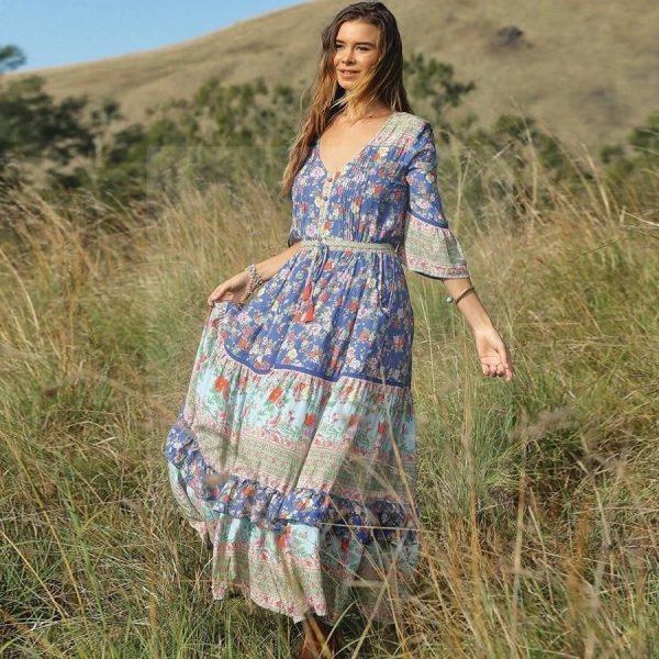 Blue boho dress