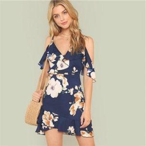 Bohemian dress navy blue