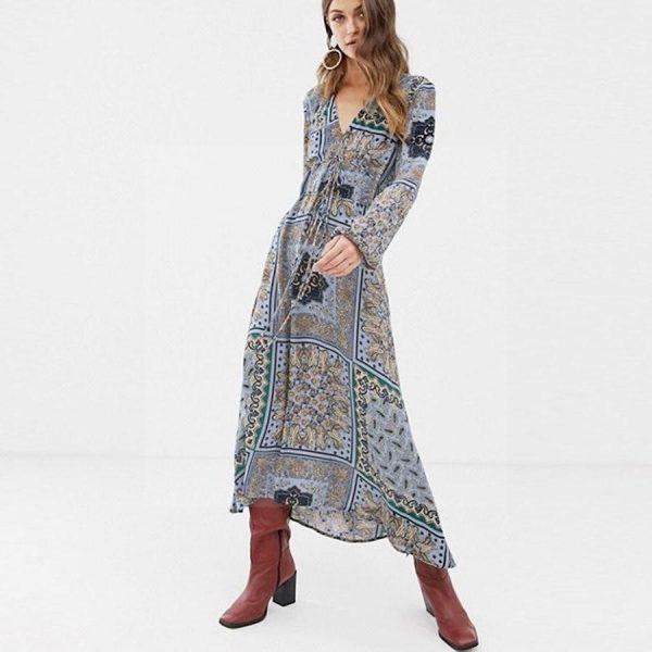 Bohemian chic grey dress