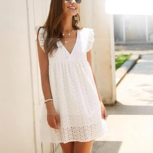 Bohemian chic short white dress