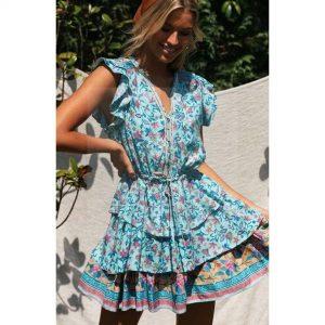 Bohemian floral maxi dress