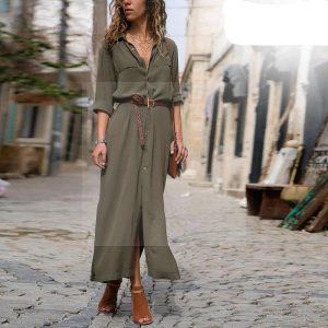 Khaki bohemian maxi dress