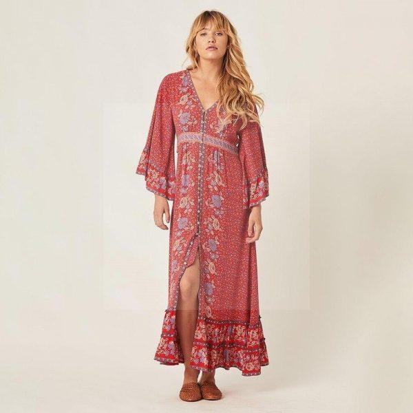 Powder pink bohemian maxi dress