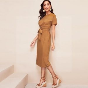 Golden bohemian style dress